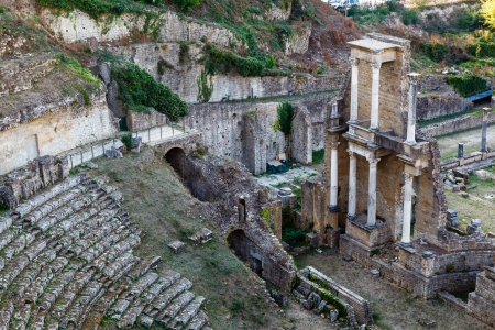 volterra: Ancient Roman Theatre of Volterra in Tuscany, Italy Stock Photo