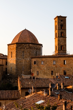 Sunset in the Small Town of Volterra in Tuscany, Italy photo