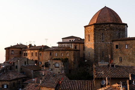 volterra: Evening in the Small Town of Volterra in Tuscany, Italy
