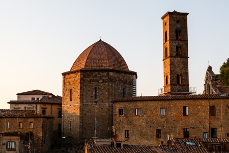 volterra: Sunset in the Small Town of Volterra in Tuscany, Italy