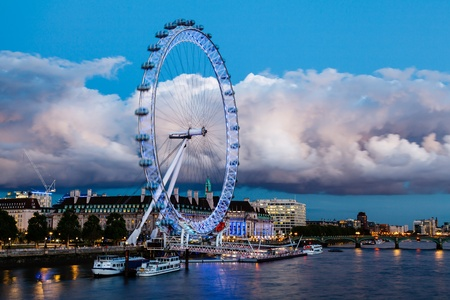 London Eye and Huge Cloud on London Cityscape in the Evening, United Kingdom