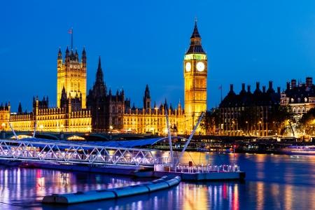 Big Ben en Houses of Parliament bij nacht, London, Verenigd Koninkrijk Stockfoto - 14068335