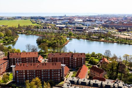 Aerial View on Roofs and Canals of Copenhagen, Denmark photo