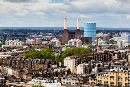 powerstation: Aerial View from Westminster Cathedral on Roofs and Battersea Powerstation, London, United Kingdom