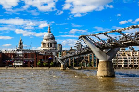 saint pauls cathedral: Millennium Bridge and Saint Pauls Cathedral in London, United Kingdom