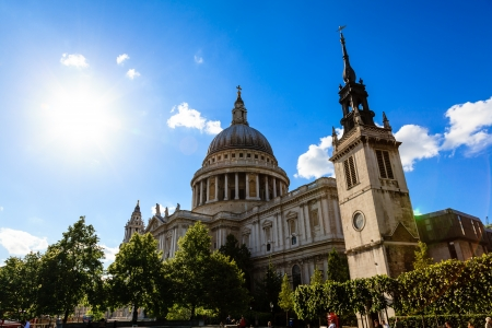 Saint Pauls Cathedral in London on Sunny Day, United Kingdom