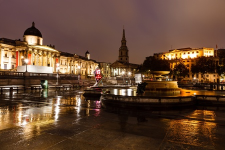 places of interest: National Gallery and Trafalgar Square in the Night, London, United Kingdom