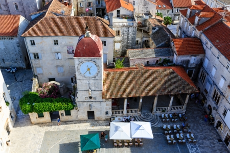 Aerial View on the Main Square of Trogir from Cathedral of Saint Lawrence, Croatia