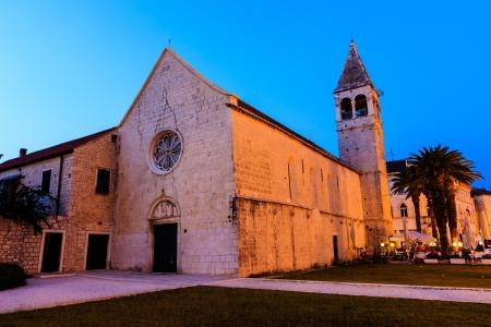 Illuminated Church of Saint Dominic in Trogir at Night, Croatia photo