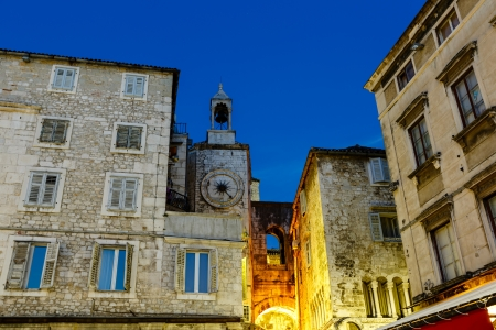 Clock Tower and Iron Gate in Split at Night, Croatia Stock Photo - 14609993