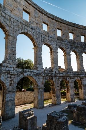 roman amphitheatre: Anfiteatro romano antiguo en Pula, Istria, Croacia Foto de archivo