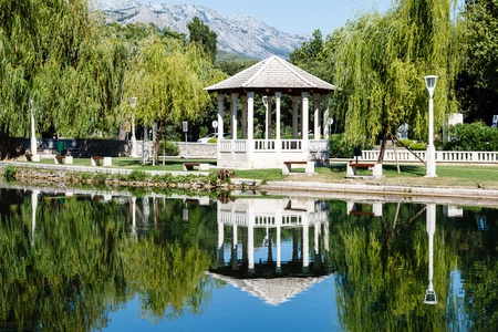 Picturesque Landscape, Pavilion, River and Willow, Solin, Croatia photo
