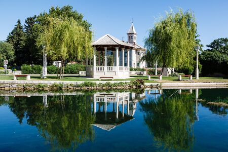 Picturesque Landscape, Church, Pavilion, River and Willow, Solin, Croatia photo