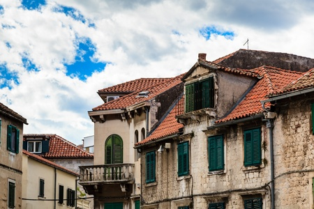 Traditional Houses with Red Tiled Roofs in Split, Croatia photo