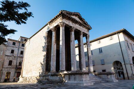 augustus: Ancient Roman Temple of Augustus in Pula, Istria, Croatia Stock Photo