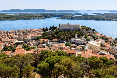 Aerial View on Castle of Saint Michael and Sibenik, Croatia