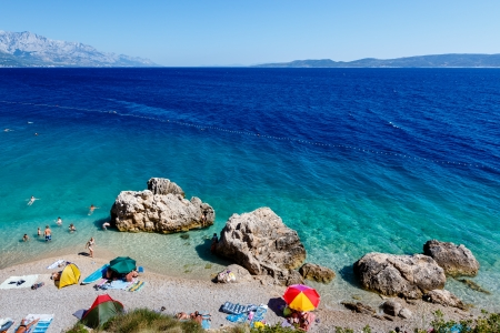 brac: Beautiful Beach and Adriatic Sea with Transparent Blue Water near Split, Croatia
