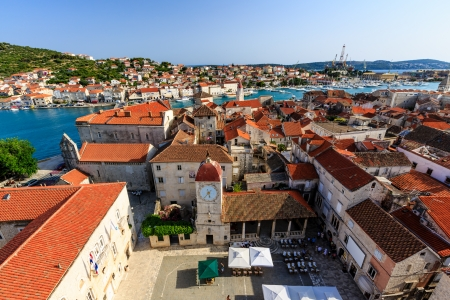 Aerial View on Trogir and it's Main Square from Cathedral of Saint Lawrence, Croatia Standard-Bild