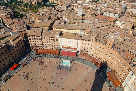 Aerial View on Piazza del Campo, Central Square of Siena, Tuscany, Italy photo