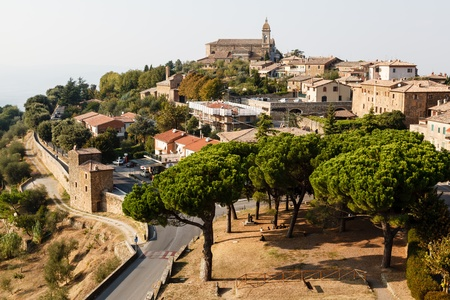 italian village: Aerial View of Montalcino, the City of Brunello Wine, Italy Stock Photo