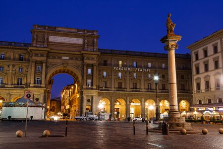 The Column of Abundance in the Piazza della Repubblica in the Morning, Florence, Italy