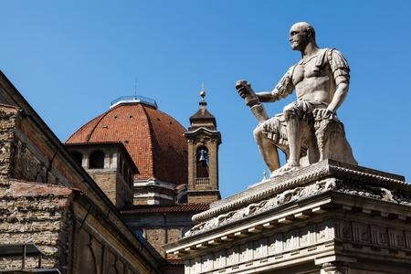 lorenzo: Statue of Giovanni delle Bande Nere at Piazza San Lorenzo by Baccio Bandinelli, Florence, Italy