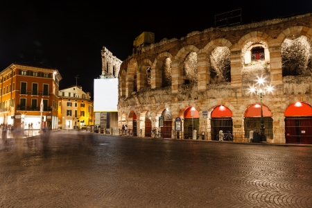 Ancient Roman Amphitheater on Piazza Bra in Verona at Night, Veneto, Italy photo