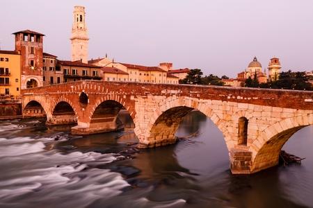 View of Adige River and Saint Peter Bridge in Verona, Veneto, Italy photo