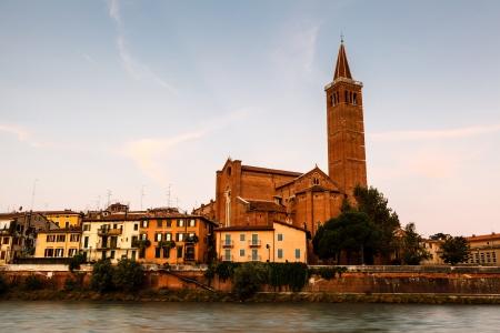 Campanile of Saint Anastasia in Verona at Morning, Veneto, Italy photo