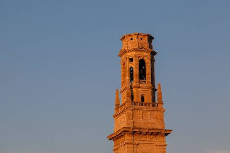 catholism: Bell Tower of Duomo Cathedral in Verona in the Morning, Veneto, Italy Stock Photo