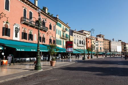 Restaurants and Cafes on Piazza Bra in Verona, Veneto, Italy