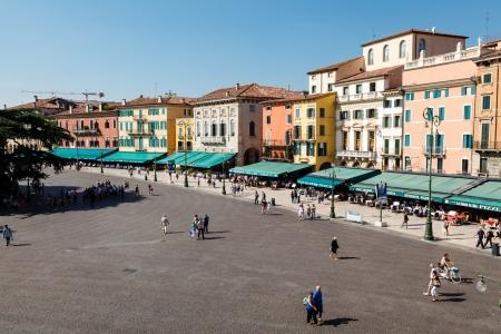 piazza: Piazza Bra in Verona Viewed from Ancient Roman Amphitheater, Veneto, Italy
