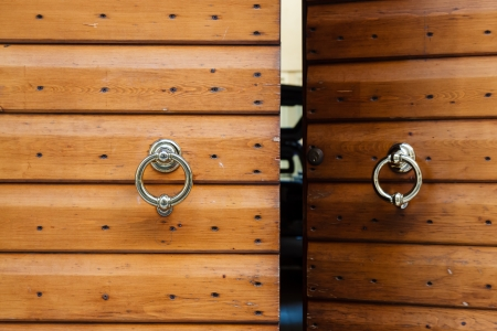 Old Wooden Door with Metal Knockers in Verona, Veneto, Italy Stock Photo - 16108663
