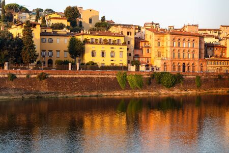 Arno River Embankment after Sunrise in Florence, Tuscany, Italy photo