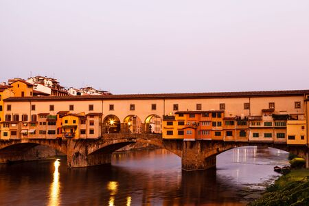 Ponte Vecchio Bridge Across Arno River in Florence at Morning, Italy photo