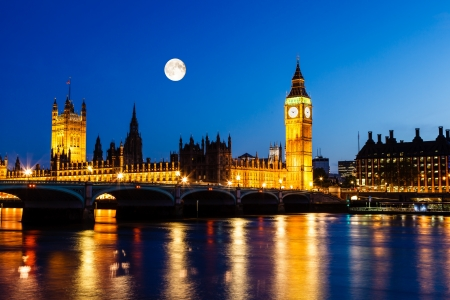 parliament building: Full Moon above Big Ben and House of Parliament, London, United Kingdom