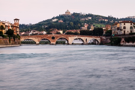 View of Adige River and Saint Peter Bridge in Verona, Veneto, Italy Stock Photo - 16299115