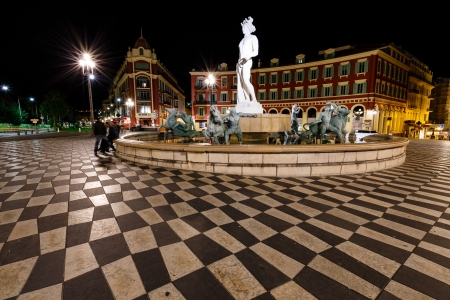azur: The Fontaine du Soleil on Place Massena at Night, Nice, French Riviera, France
