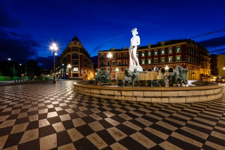 The Fontaine du Soleil on Place Massena in the Morning, Nice, French Riviera, France photo