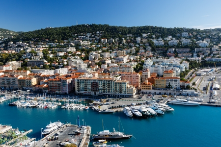 nice house: Aerial View on Port of Nice and Luxury Yachts, French Riviera, France