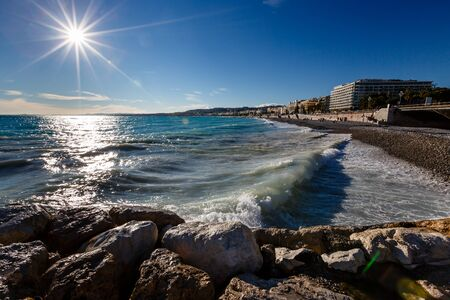 promenade: Azure Sea and Beautiful Beach in Nice, French Riviera, France