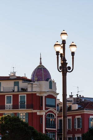 Backlit Lamppost on Massena Place in Nice, France photo