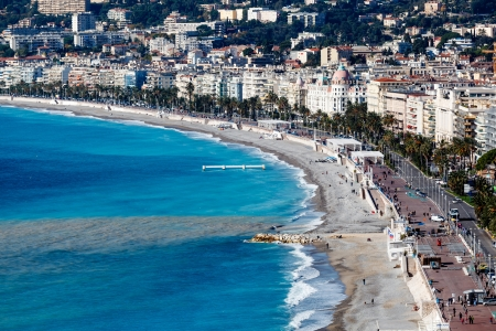 promenade: Promenade des Anglais and Beautiful Beach in Nice, French Riviera, France Stock Photo