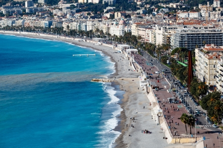 mediterranean houses: Promenade des Anglais and Beautiful Beach in Nice, French Riviera, France Stock Photo