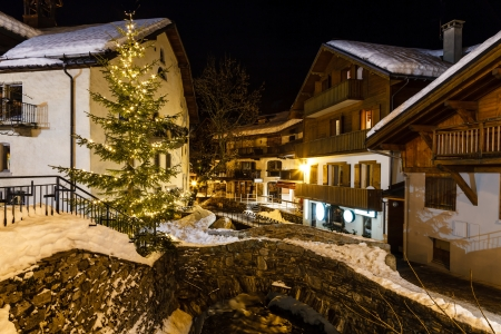 christmas display: Village of Megeve on Christmas Eve, French Alps, France