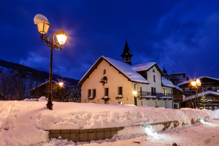 Illuminated Street of Megeve on Christmas Eve, French Alps, France