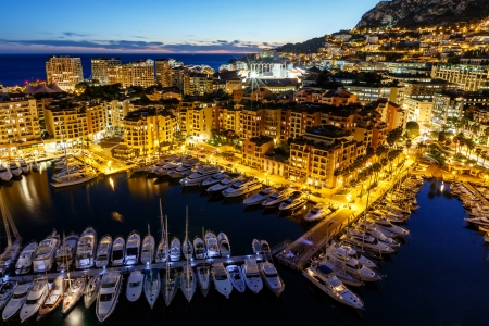 monte carlo: Aerial View on Fontvieille and Monaco Harbor with Luxury Yachts, French Riviera