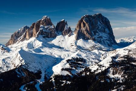 sella: Passo Sella Peak on the Ski Resort of Canazei, Dolomites Alps, Italy