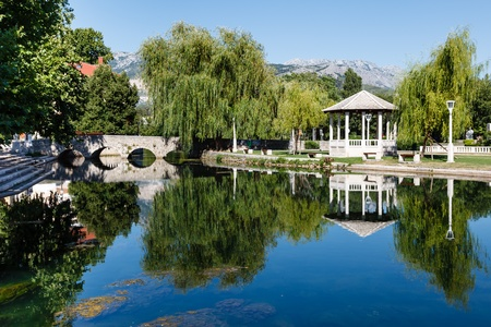Picturesque Landscape, Stone Bridge, Pavilion, River and Willow, Solin, Croatia Stock Photo - 17883979