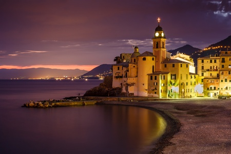 Church on the Beach in Camogli near Genoa, Liguria,  Italy photo